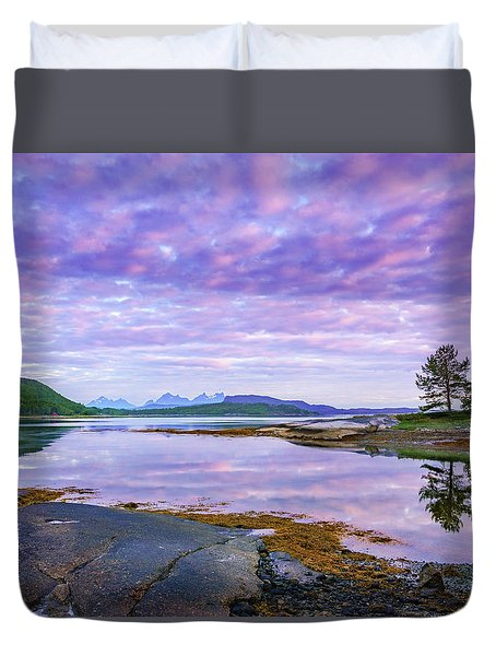 Duvet Cover featuring the photograph White Night In Nordkilpollen Cove by Dmytro Korol