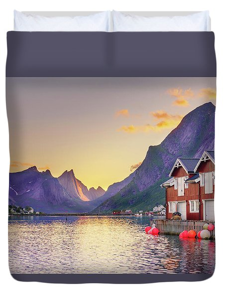 Duvet Cover featuring the photograph White Night In Reine by Dmytro Korol