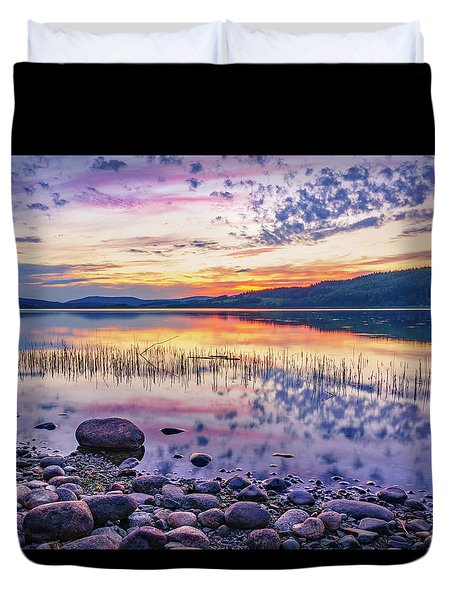 Duvet Cover featuring the photograph White Night Sunset On A Swedish Lake by Dmytro Korol
