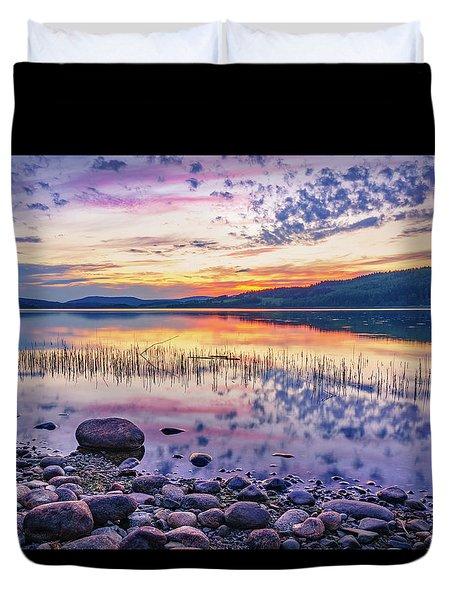 White Night Sunset On A Swedish Lake Duvet Cover