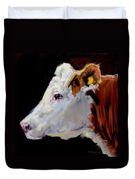 White On Brown Cow Duvet Cover