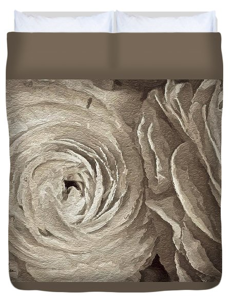 Duvet Cover featuring the painting White On White Rose by Joan Reese