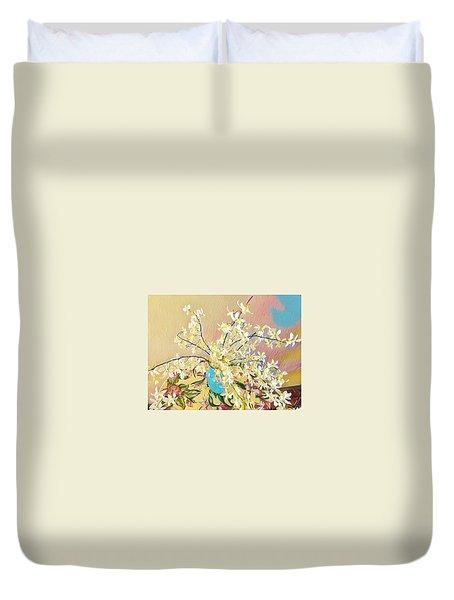 White Orchid Bouquet Pink/blue Duvet Cover