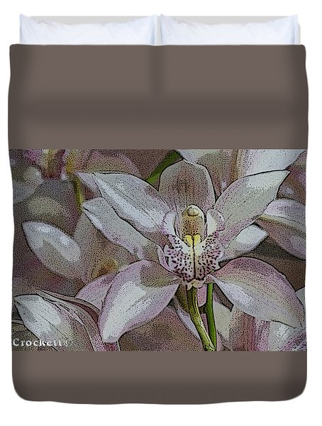 White Orchid Flower Duvet Cover