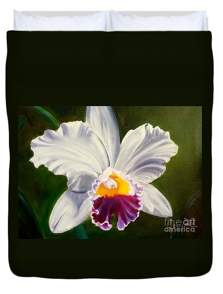 Duvet Cover featuring the painting White Orchid by Jenny Lee