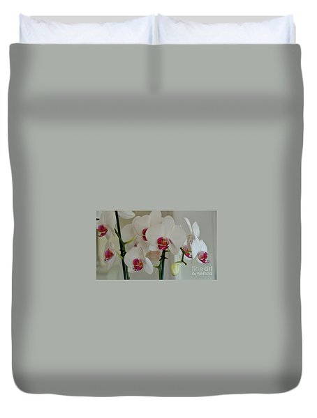 White Orchid Mothers Day Duvet Cover by Marsha Heiken