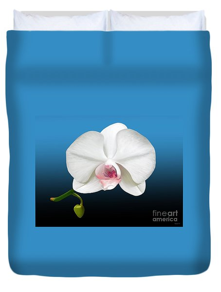 Duvet Cover featuring the digital art White Orchid by Rand Herron