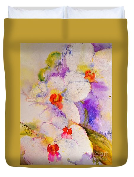 White Orchids Duvet Cover by Betty M M Wong