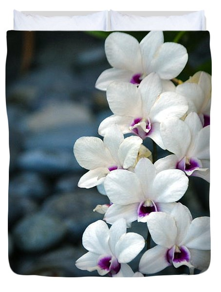 Duvet Cover featuring the photograph White Orchids by Debbie Karnes