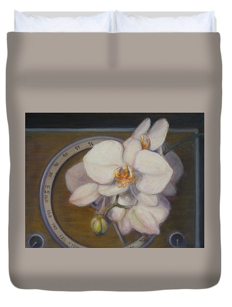 Duvet Cover featuring the painting White Orchids by Donelli  DiMaria