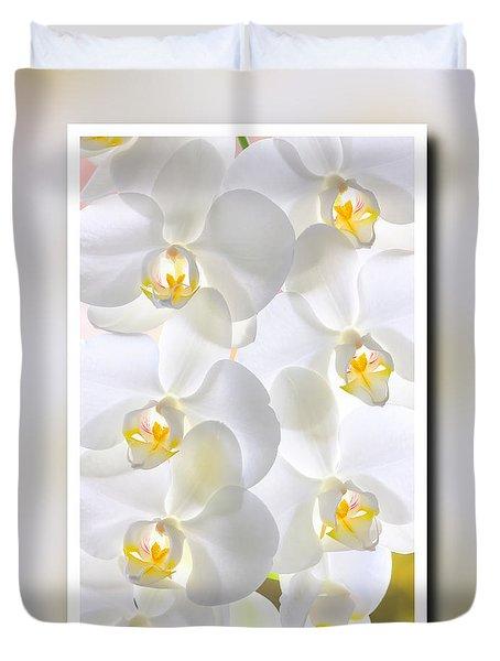 White Orchids Framed Duvet Cover