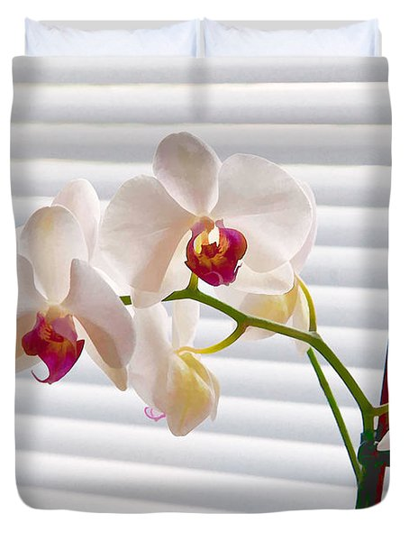 White Orchids On White Duvet Cover