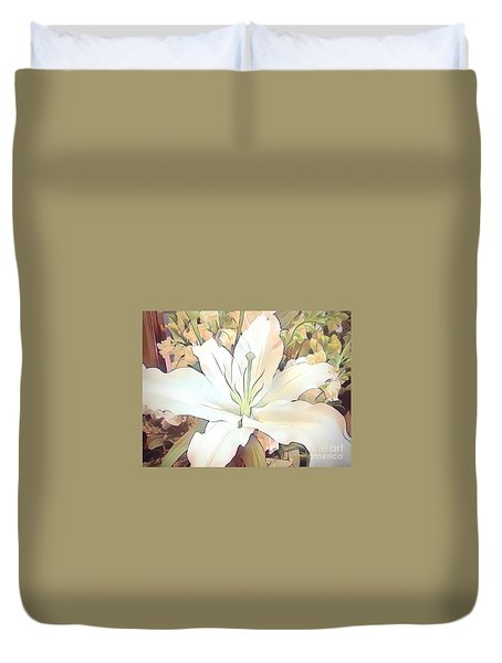 White Painted Lily Duvet Cover
