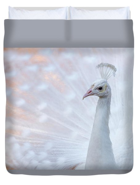 Duvet Cover featuring the photograph White Peacock by Sebastian Musial