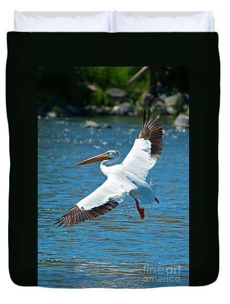 White Pelican Flight Duvet Cover by Mike Dawson