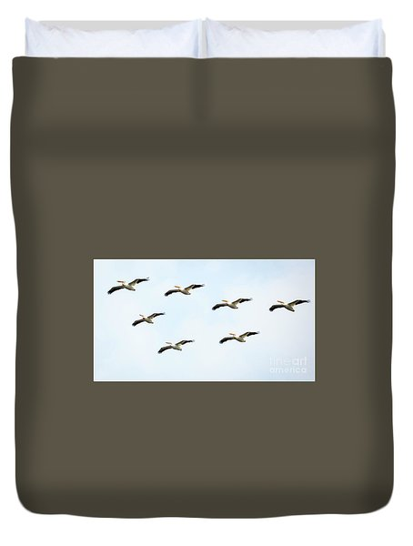 Duvet Cover featuring the photograph White Pelican Flyby by Ricky L Jones