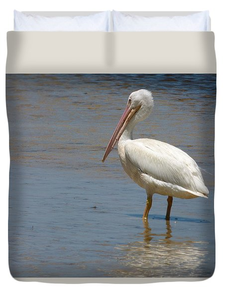 Duvet Cover featuring the photograph White Pelican by Melinda Saminski