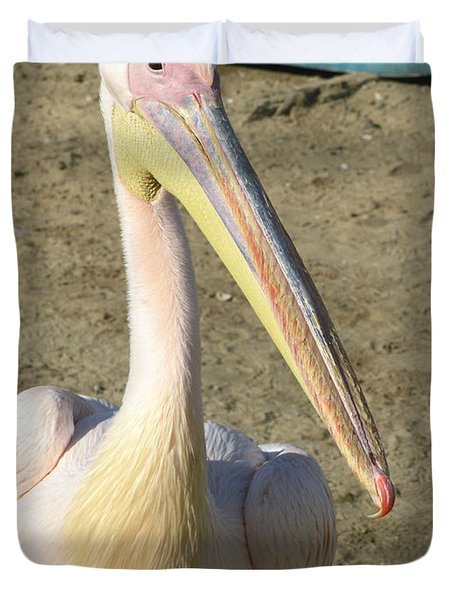 White Pelican Duvet Cover by Sally Weigand