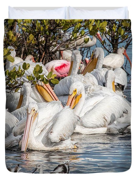 White Pelicans And Others Duvet Cover