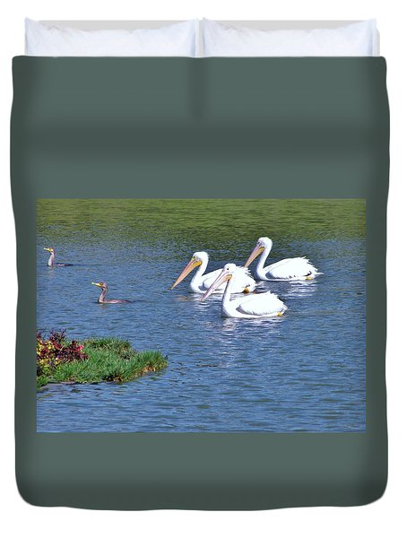 Duvet Cover featuring the photograph White Pelicans by Martha Ayotte
