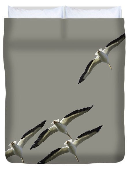 White Pelicans Transparency Duvet Cover