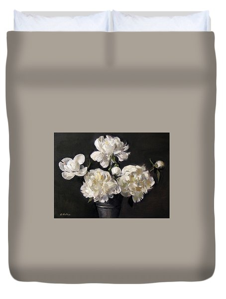 White Peonies Alone Duvet Cover