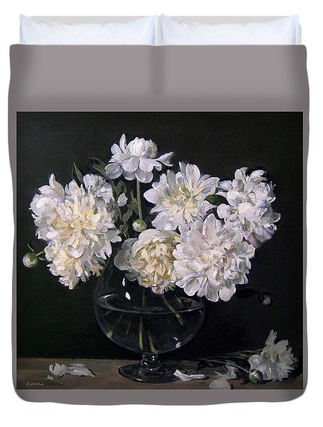 White Peonies Are Ready To Explode Duvet Cover
