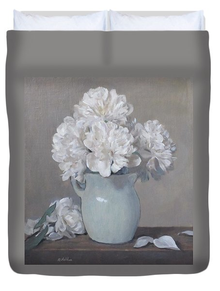 Gray Day For White Peonies Duvet Cover
