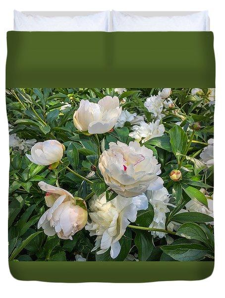 White Peonies In North Carolina Duvet Cover