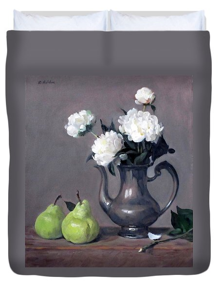 White Peonies In Silver Coffeepot, Pears Duvet Cover