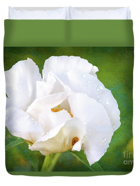 White Peony After The Rain Duvet Cover