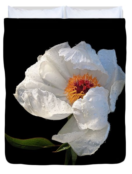 White Peony After The Rain Duvet Cover by Gill Billington