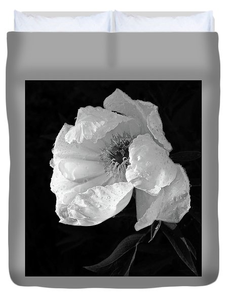 White Peony After The Rain In Black And White Duvet Cover by Gill Billington