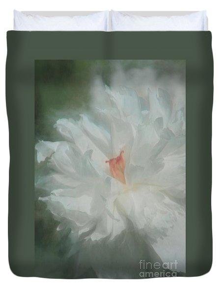 Duvet Cover featuring the photograph White Peony by Benanne Stiens