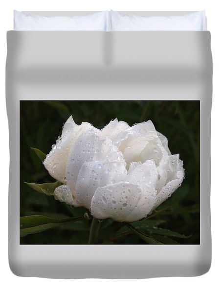 White Peony Covered In Raindrops Duvet Cover by Gill Billington