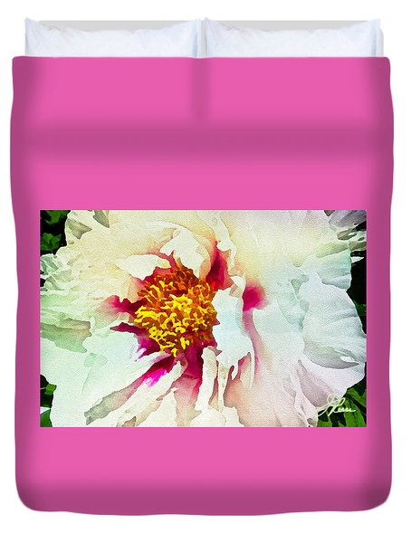 Duvet Cover featuring the painting White Peony by Joan Reese