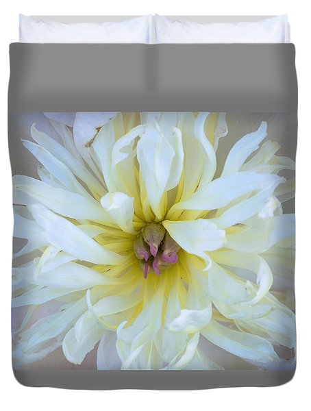 Duvet Cover featuring the photograph White Peony by Tom Singleton
