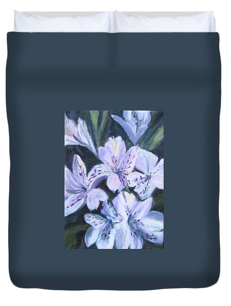 White Peruvian Lily Duvet Cover
