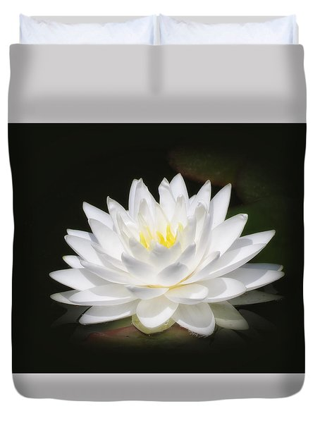 White Petals Glow - Water Lily Duvet Cover by MTBobbins Photography