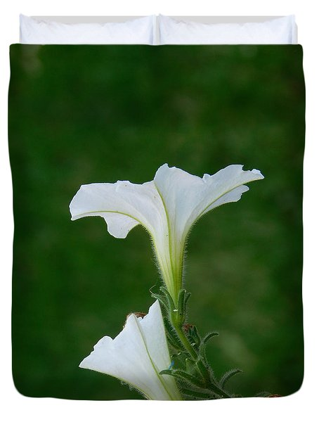 White Petunia Blossoms Duvet Cover