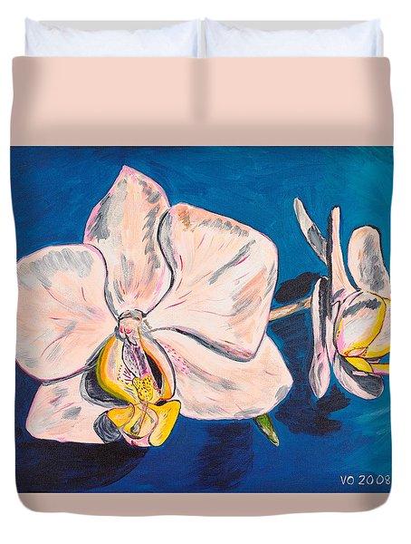 White Phalaenopsis Orchids Duvet Cover by Valerie Ornstein