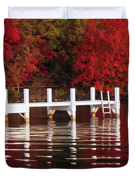 White Pier - Lake Geneva Wisconsin Duvet Cover