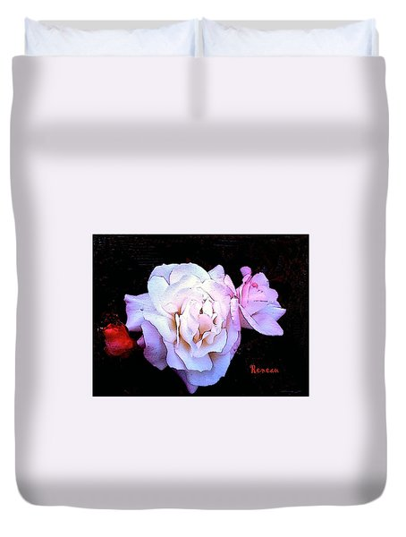 White - Pink Roses Duvet Cover by Sadie Reneau