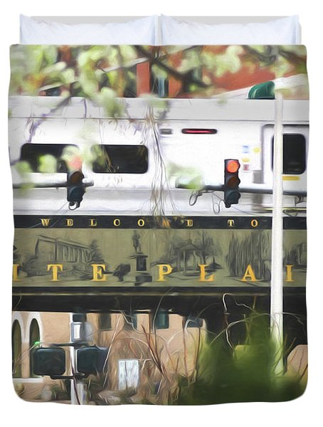 Duvet Cover featuring the photograph White Plains Train Station by Ericamaxine Price