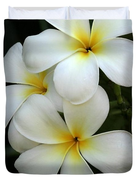 White Plumeria Duvet Cover