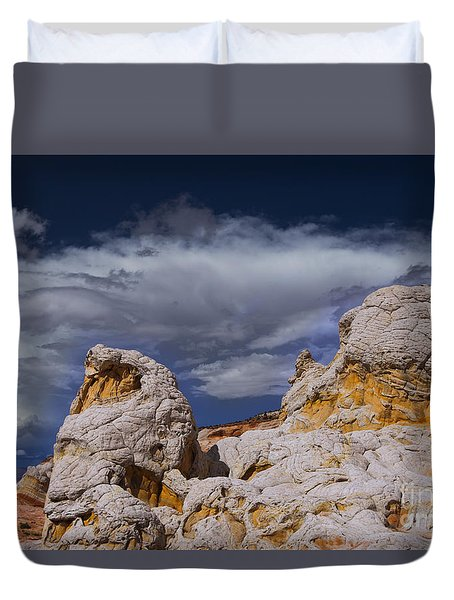 White Pocket Alien Duvet Cover