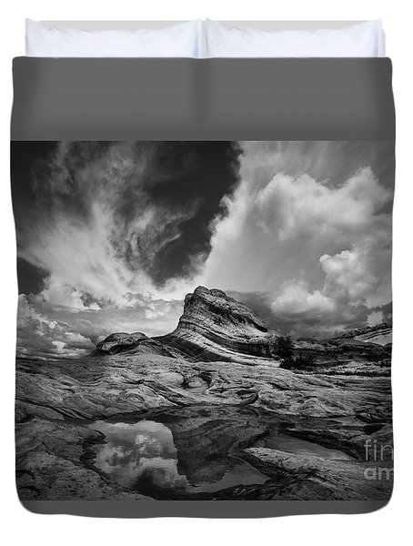 White Pocket - Black And White Duvet Cover