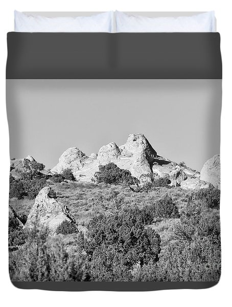 Duvet Cover featuring the photograph White Pocket In Black And White by Anne Rodkin