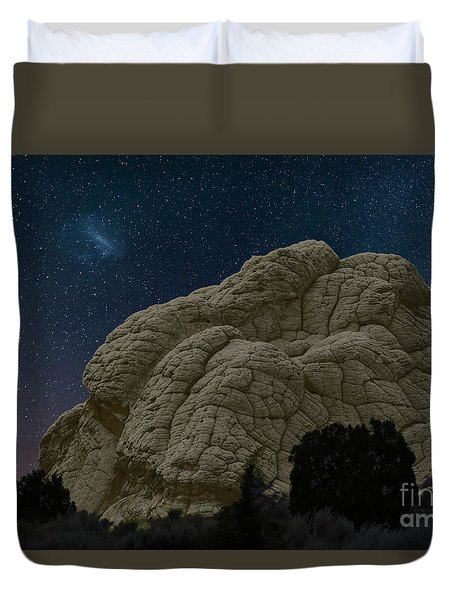 Duvet Cover featuring the photograph White Pocket Night Sky by Anne Rodkin