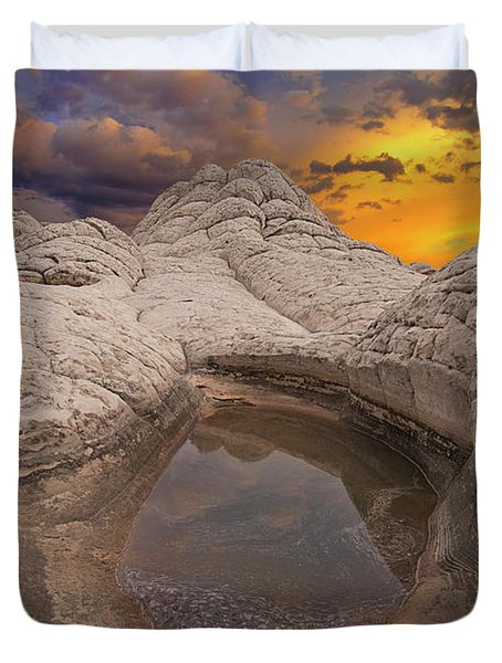 White Pocket Sunset Duvet Cover